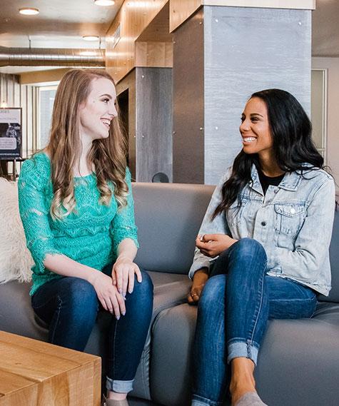 Girls Talking at Cedars Apartments in Rexburg